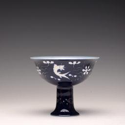 锦玉堂王琳 代表作 祭蓝高足鱼藻杯
