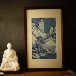 文人茶室|隐山清玩晓花窑 雪景山水瓷版画