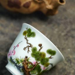 隐山清玩|晓花窑松竹梅珐琅彩杯