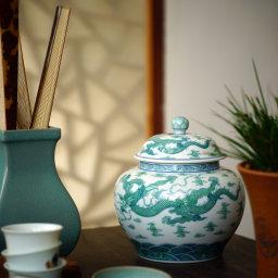 晓花窑 绿龙罐
