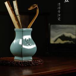 文房雅物 扇瓶\花瓶 清凉寺方壶汝瓷瓶 高18cm 素心温润